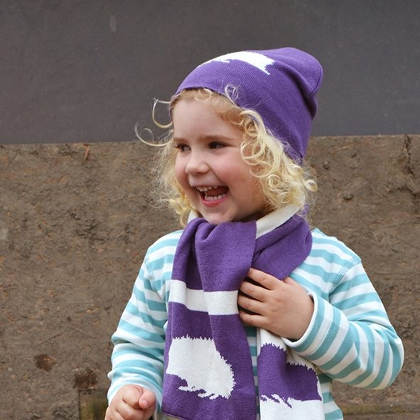 Gorro Hedgehog hat& scarf set plum
